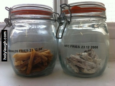 Fries from McDonald's and fries from KFC after 5 years