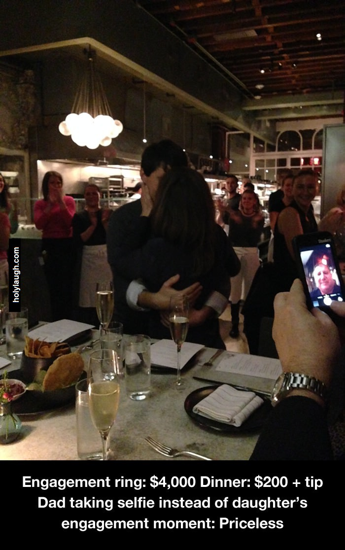 stop the selfies your daughter just got engaged