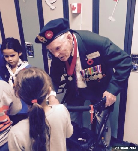 little girl asks an old veteran if he would do it all again. He said, Yes, for you
